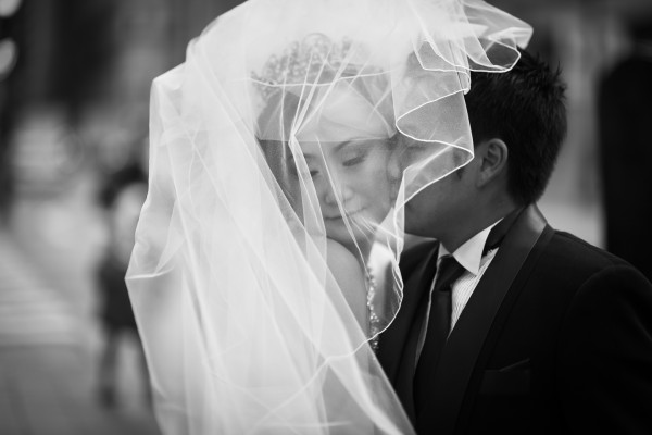 Wedding Veil Kiss Photo