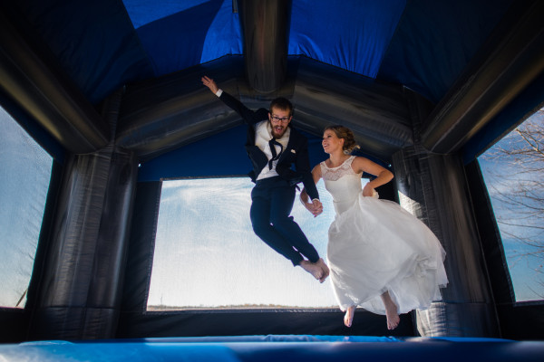 Bouncy House Wedding Photo
